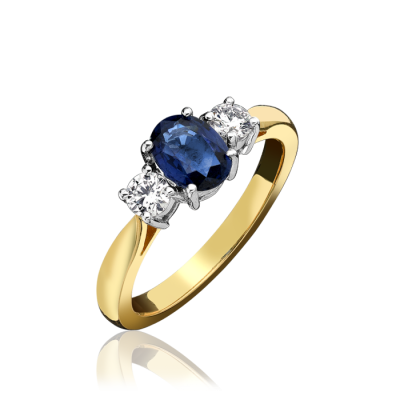 18ct Yellow Gold Sapphire & Diamond Three Stone Ring
