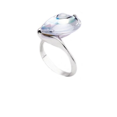 Baccarat Fleurs De Psydelic Clear Mirror Crystal & Silver Ring 2609350
