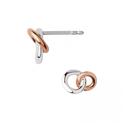Links of London 20/20 Sterling Silver & 18kt Rose Gold Stud Earrings 5040.2544