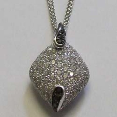 18ct white gold, diamond and black diamond marquise pendant, by Chimento.