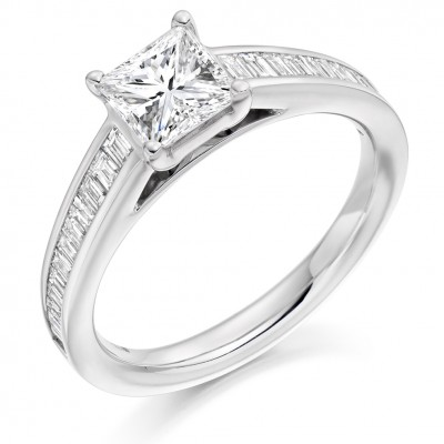 Princess Cut Diamond Engagement Ring with Baguette Cut Shoulders