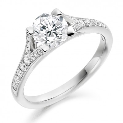 Round Brilliant Cut Diamond Solitaire with Diamond Set Shoulders