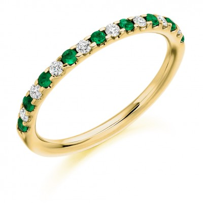 EMERALD & DIAMOND HALF ETERNITY RING. HET1023 EMD