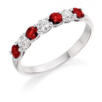 RUBY & DIAMOND HALF ETERNITY RING. HET1493 RUD