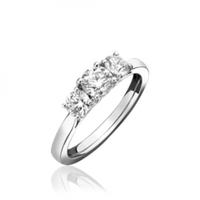 18ct White Gold & Diamond Trilogy Ring