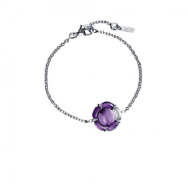 Baccarat B Flower Purple Mirror Crystal & Silver Bracelet 2803373
