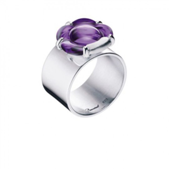 Baccarat B Flower Purple Mirror Crystal & Silver Tube Ring 2803716