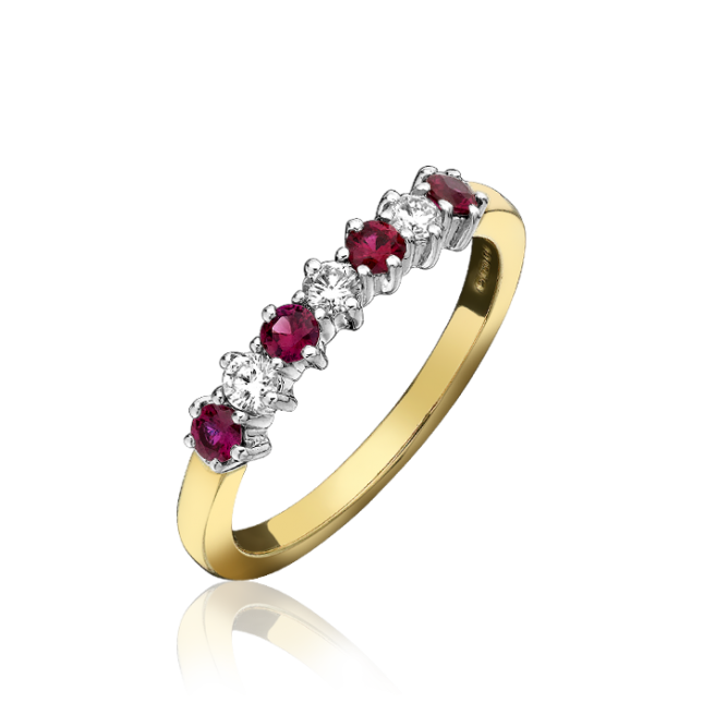 18ct Yellow Gold Ruby & Diamond 7 Stone Eternity Ring