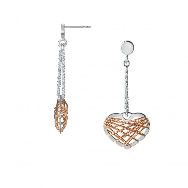Links of London - Dream Catcher Bi-Metal Heart Drop Earrings