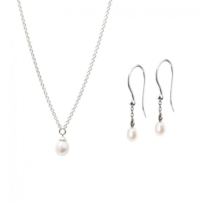 Trollbeads - Capsule Collection - The Pearl Necklace & Earring Set TZZUK-00789
