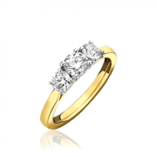 18ct Yellow Gold & Diamond Trilogy Ring