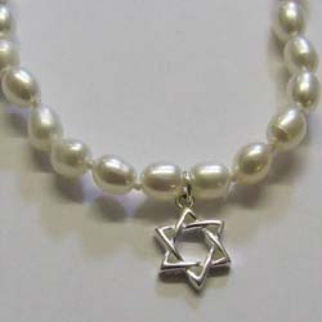 Sterling silver and pearl, star of David necklace, by Molly Brown.