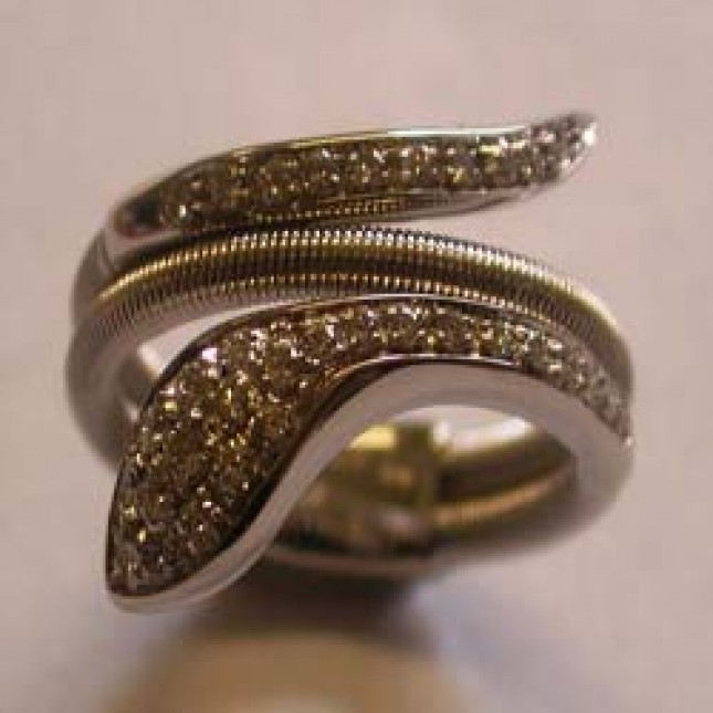 18ct White gold and diamond fancy snake ring