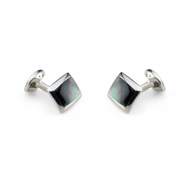 Deakin & Francis - Sterling Silver Oblong Cufflinks with Grey Mother of Pearl Inlay