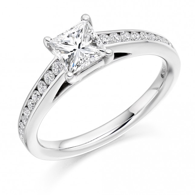 Princess Cut Diamond Solitaire with Diamond Set Shoulders