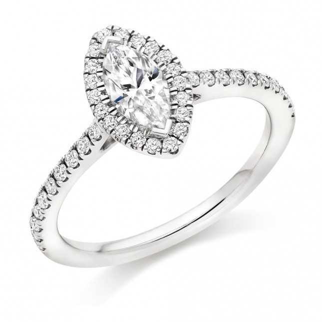 Marquise Cut Diamond Engagement Ring with Diamond Set Halo & Shoulders