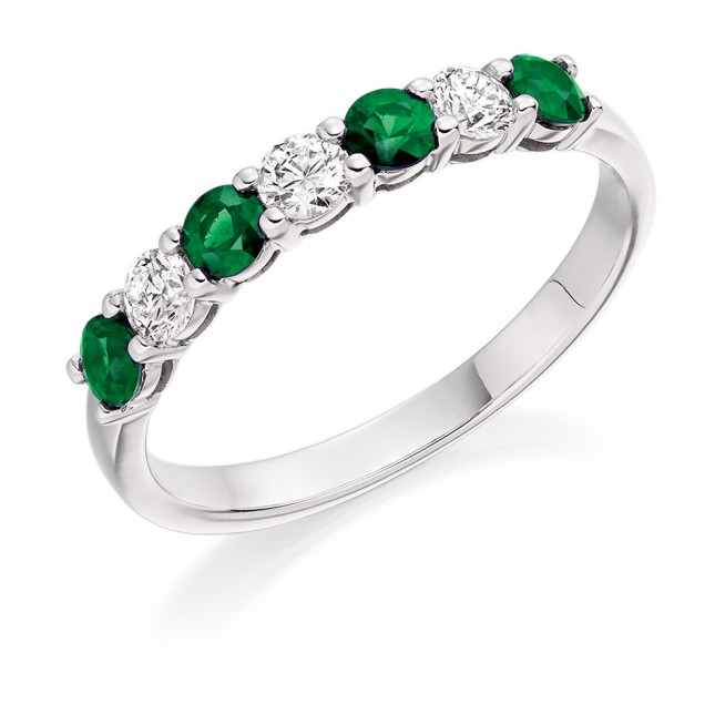 EMERALD & DIAMOND HALF ETERNITY RING. HET1493 EMD