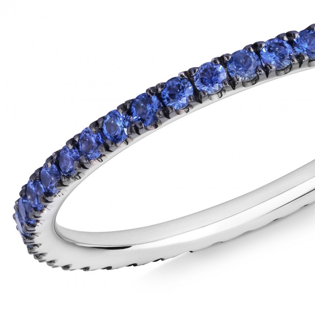 18CT WHITE GOLD AND BLUE SAPPHIRE MICRO-SET ETERNITY RING