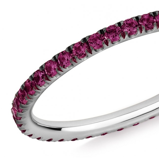 18CT WHITE GOLD AND RUBY MICRO-SET ETERNITY RING