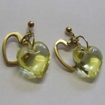 Lalique gold plate and yellow crystal love heart earrings.