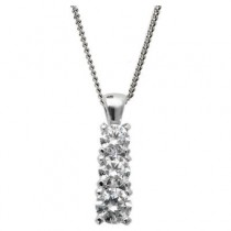 18ct White Gold Mastercut, 3 stone Diamond Simplicity pendant.