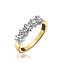18ct Yellow Gold & Diamond Five Stone Eternity Ring