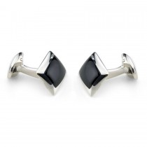 Deakin & Francis - Sterling Silver Oblong Cufflinks with Onyx Inlay