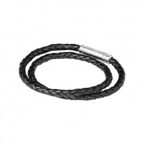 Links of London - Venture Mens Black Leather Double Wrap Bracelet 2110.0059