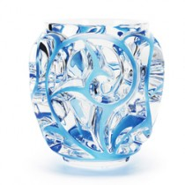 Lalique - Tourbillons Clear crystal, blue patinated Vase