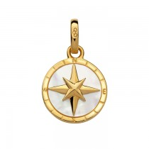 Links of London - 18kt Yellow Gold Vermeil & Mother of Pearl Compass Charm. 5030.2542