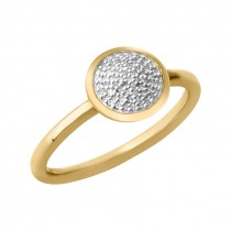 Links of London - Diamond Essentials 18kt Yellow Gold Vermeil & Pave Round Ring