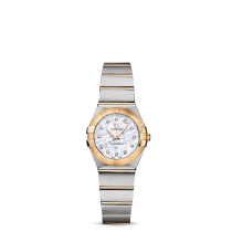 Omega Ladies Quartz Watch MOP Diamond Dot Dial, Steel and Gold Bracelet 123.20.24.60.55.002.