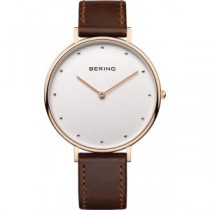 BERING  CLASSIC COLLECTION WOMEN'S WATCH CALFSKIN LEATHER BROWN
