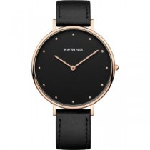 BERING CLASSIC COLLECTION WOMEN'S WATCH CALFSKIN LEATHER BLACK