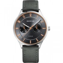 BERING TITANIUM COLLECTION MEN'S WATCH NYLON GREY