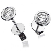 18ct White Gold & Diamond Stud Earrings (BJE004)