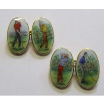 18ct yellow gold and enamel golf scene cufflinks.