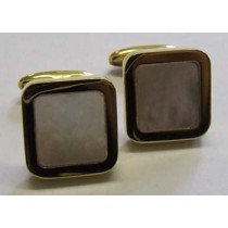 18ct yellow gold and mother of pearl, square cufflinks.