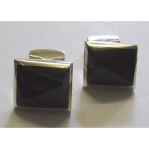 Gents silver rectangular cufflink with a blue Tigers eye centre, by Orlap.