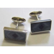 Gents silver rectangular, blue lace agate and lapis marquetry swivel cufflink, by Orlap.