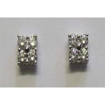18ct white gold and diamond cluster earrings.