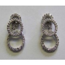 18ct white gold and diamond 3 circle drop earrings.