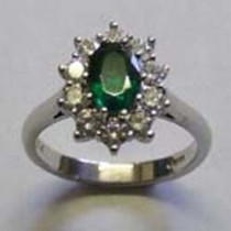 Platinum, emerald & diamond cluster ring
