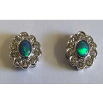 18ct white gold, black opal and diamond cluster earrings.