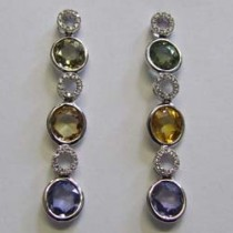 18ct white gold multi coloured sapphire and diamond drop earrings.