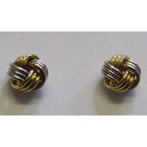 18ct yellow and white gold knot stud earrings.