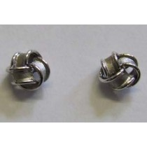 18ct white gold satin knot earrings.