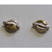 18ct yellow and white gold stud earrings.