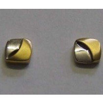 18ct yellow and white gold square stud earrings.