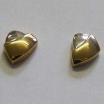18ct yellow and white gold triangular stud earrings.